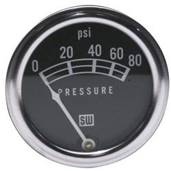 Stewart Warner 82208 Std 2-1/16 In. Oil Pressure Gauge, Mech, 0-80 PSI