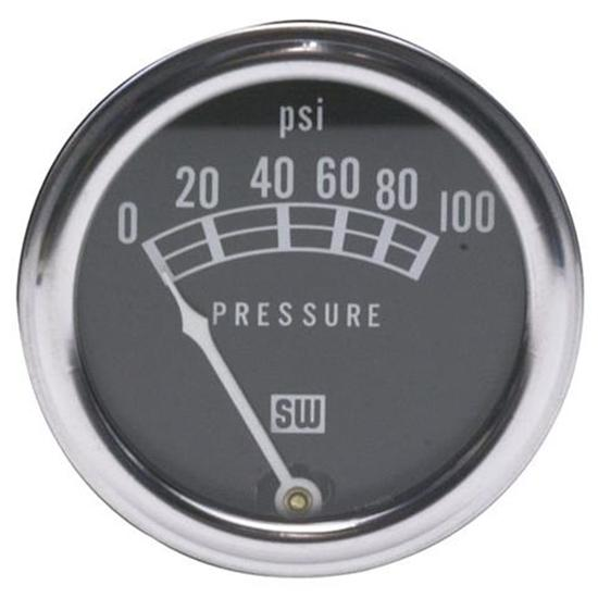 Stewart Warner 82209 Std 2-1/16 In. Mech Oil Pressure Gauge, 0-100 PSI