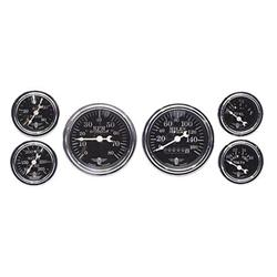 Stewart Warner 82225 Wings Six Black Gauge Set, Electric/Mechanical