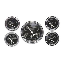 Stewart Warner 82229 Wings Five Gauge Set, Electric, Black Face