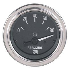 Stewart Warner 82304 Deluxe 2-1/16 In Elec Oil Pressure Gauge 0-80 PSI