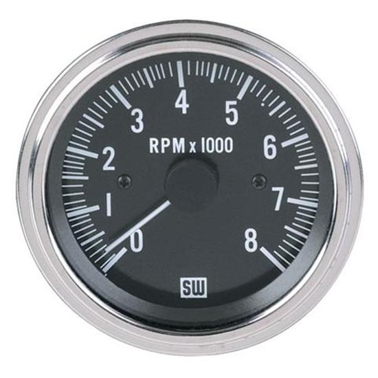 New stewart warner deluxe electric tachometer black ebay for Tachometer for electric motor
