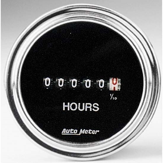 Auto Meter 2587 Traditional Chrome Air-Core Hourmeter Gauge, 2-1/16