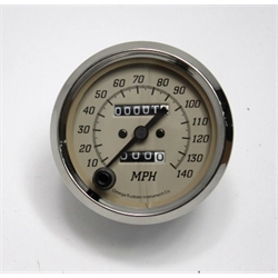 Garage Sale - Omega Kustom Tan Mechanical Speedometer, 3-3/8 Inch