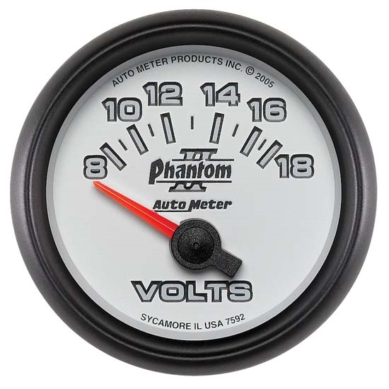 Auto Meter 7592 Phantom II Air-Core Voltmeter Gauge, 2-1/16 Inch