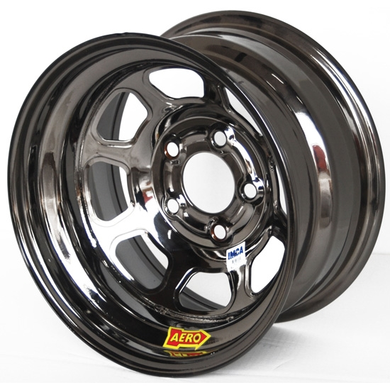 Aero 52-984710BLK 52 Series 15x8 Wheel, 5 on 4-3/4 BP, 1 Inch BS IMCA