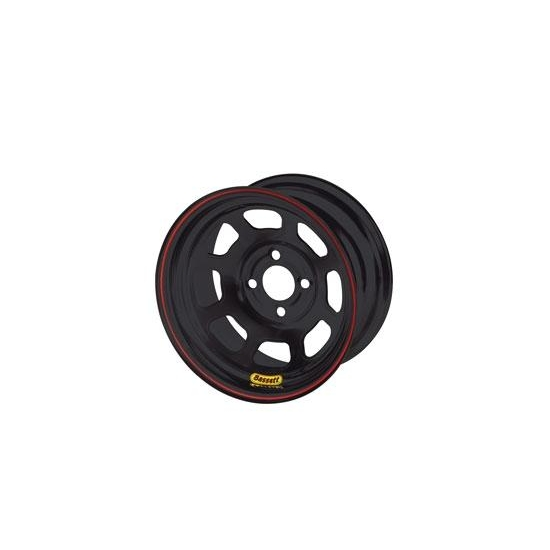 Bassett 47SP4B 14X7 D-Hole 4on4.25 4 Inch Backspace Black Beaded Wheel