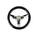 Speedway Classic Solid Spoke 9-3/4 Inch Black Steering Wheel - No Holes