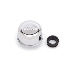 Edelbrock 4405 Oil Breather Cap, Round, Steel, Chrome, Push In