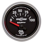 Auto Meter 3627 Sport-Comp II Air-Core Oil Pressure Gauge, 100 PSI