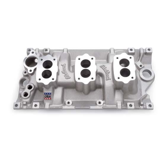 Edelbrock 5417 C357-B Three-Deuce Intake Manifold, Small