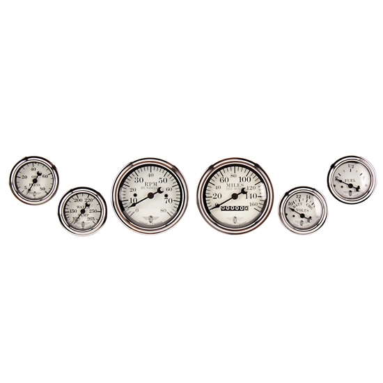 Stewart Warner 82224 Wings Six White Gauge Set, Electric/Mechanical