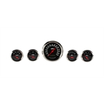 Omega Kustom 932053 3-3/8 Black 5-Gauge Set, Electric Speedometer