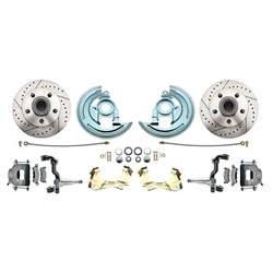 64-74 GM A/F/X Body 11 In Disc Brake Kit, Drill/Slot Rtr, Gry Caliper