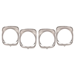 Dynacorn M1388 1968 Chevelle Headlamp Bezels, 4 Piece Inner/Outer