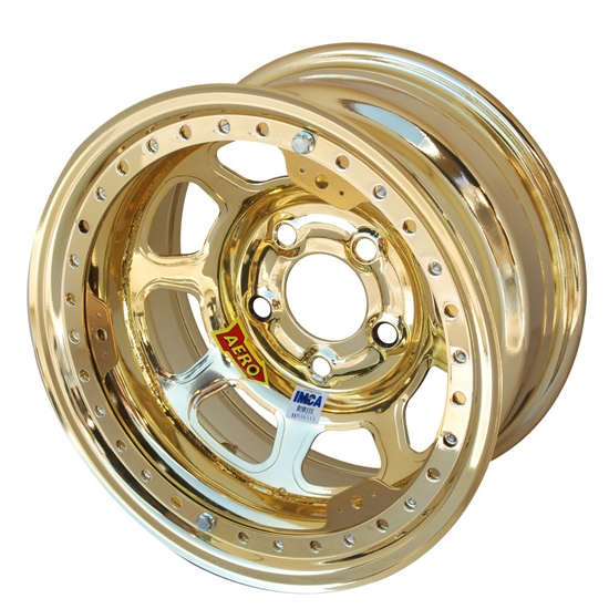 Aero 53-985020GOL 53 Series 15x8 Wheel, BL, 5 on 5 BP, 2 Inch BS IMCA