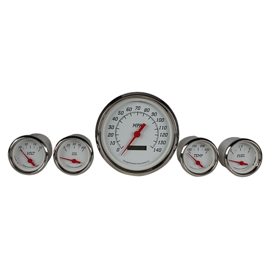 Omega Kustom 12085 White Face 5-Gauge Set, Electric Speedometer, 4-3/8