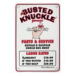 Busted Knuckle Rate Vintage Tin Sign