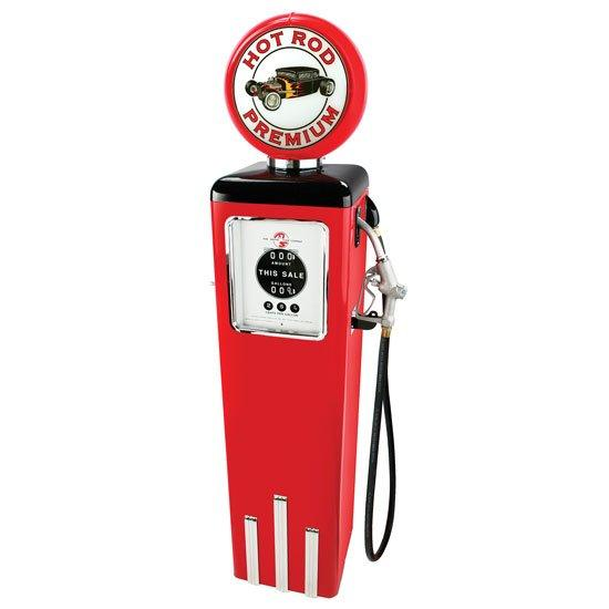 Replica Red Gas Pump with Hot Rod Supreme Globe
