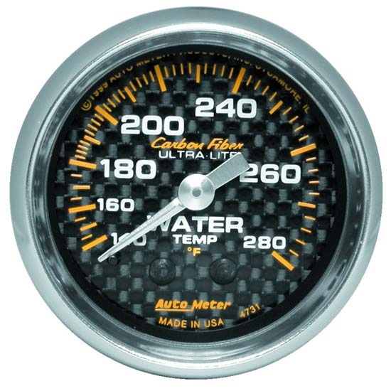 Auto Meter 4731 Carbon Fiber Mechanical Water Temperature Gauge