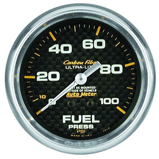 Auto Meter 4812 Carbon Fiber Mechanical Fuel Pressure Gauge