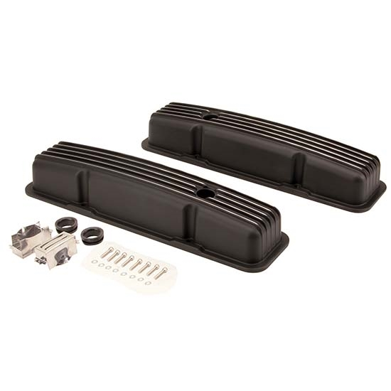 1958-1986 SBC 283-305-327-350-400 Short Finned Valve Covers, Black