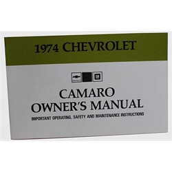 Jim Osborn 1974 Camaro Owners Manual