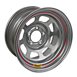 Bassett D58DF475S 15X8 Dot DHole 5on4.5 4.75 In Backspace Silver Wheel