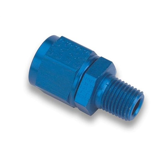 Earls 916107ERL Blue Straight -8 AN Swivel to 1/4 In Male NPT Adapter