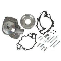 Snow White Small Block Ford Shorty Water Pump, 2-Groove Pulley