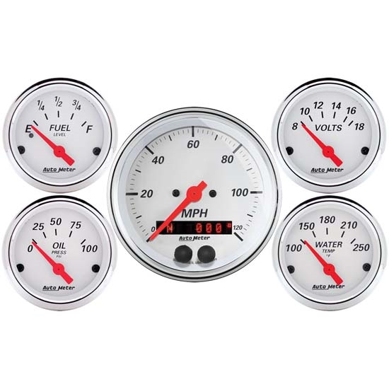 Auto Meter 1350 Arctic White 5 Piece GPS Gauge Kit