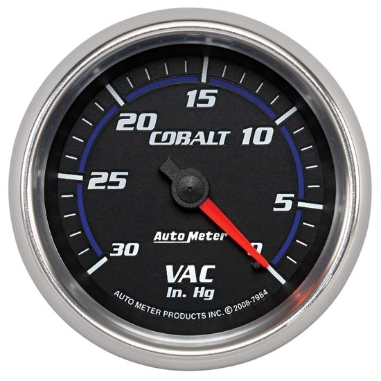 Auto Meter 7984 Cobalt Mechanical Vacuum Gauge, 2-5/8 Inch