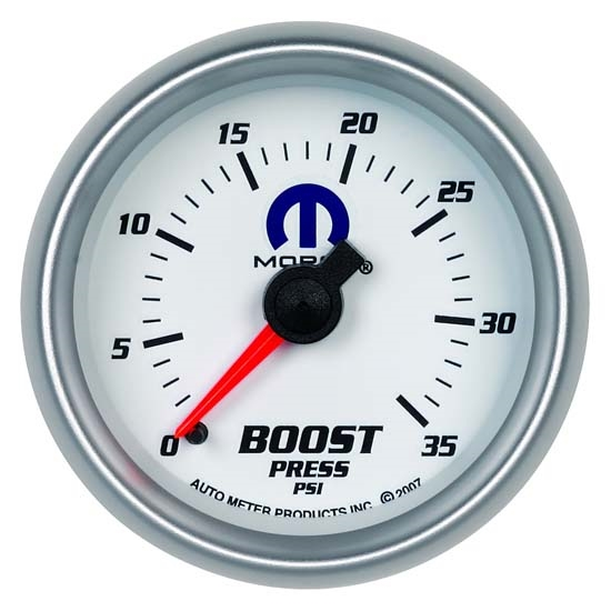 Auto Meter 880025 Mopar Mechanical Boost Gauge, 2-1/16 Inch, 35 PSI