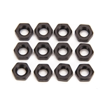 Black Aluminum Jam Nuts, 5/16-24 Thread, 12 Pack