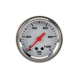 Speedway Mechanical Oil Pressure Gauge, 2-1/16 Inch, White