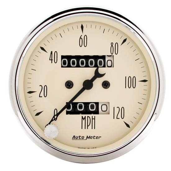 Auto Meter 1896 Antique Beige Mechanical Speedometer Gauge