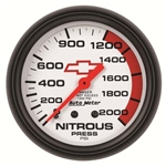 Auto Meter 5828-00406 GM White Mechanical Nitrous Pressure Gauge