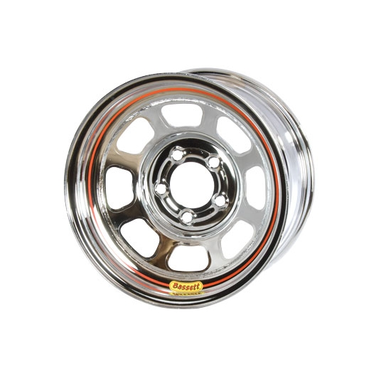 Bassett D58DJ4C 15X8 Dot D-Hole 5 on 5.5 4 Inch Backspace Chrome Wheel