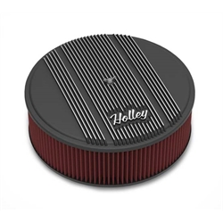Holley 120-157 Round Black Finned Air Cleaner, Reusable Filter, 14 x 4