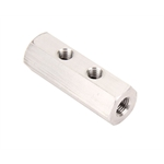 Hex Plain Aluminum Fuel Block, 2-Hole