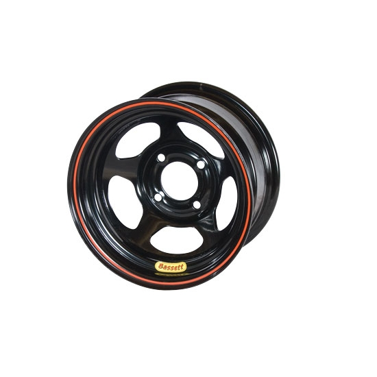 Bassett 38S45 13X8 D-Hole 4 on 4 5 Inch Backspace Black Wheel
