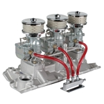 Three Plain 9 Super 7   Carbs on 1957-86 Small Block Chevy Edelbrock Intake