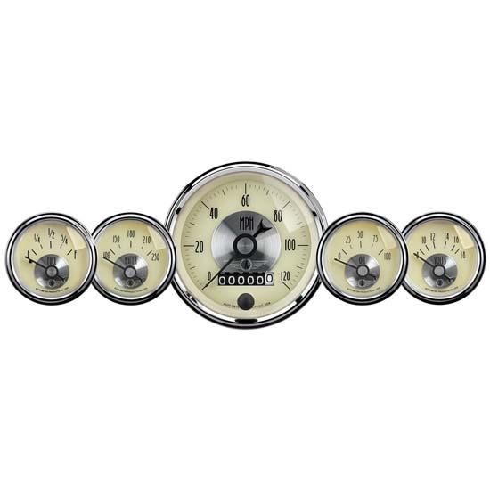 Antique Meter And Gauges : Auto meter prestige antique ivory piece gauge kit