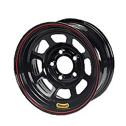 Bassett D-Hole IMCA Approved Wheel, Non-Beadlock, 15x8, 5 on 5 Inch, Black