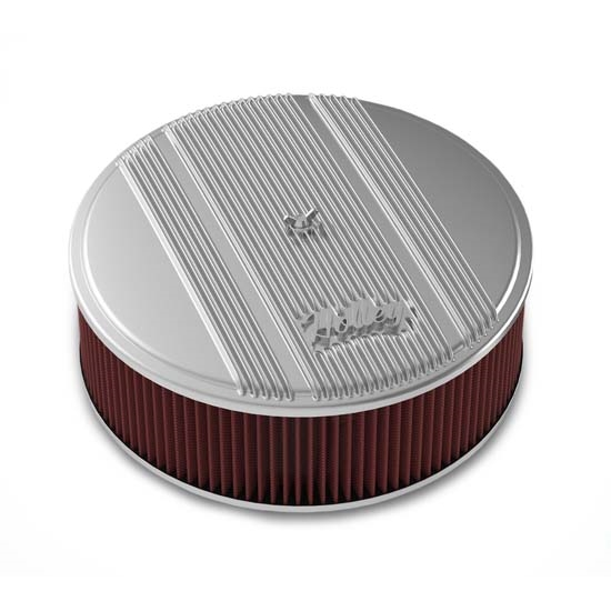 Finned Air Cleaner : Holley round polished finned air cleaner in