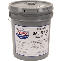 Lucas Oil 10618 High Performance Synthetic Racing Motor Oil 20W50 - 5 Gallons