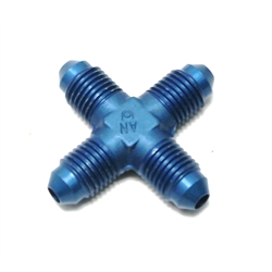 Garage Sale - Aluminum Flare Cross Adapter Fitting, Blue, -6 AN