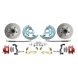 64-74 GM A/F/X Body 11 In Disc Brake Kit, Std Rtr, Red Caliper