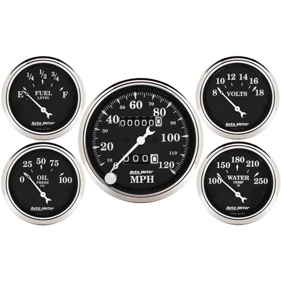 Auto Meter 1708 Old Tyme Black 5 Piece Gauge Set, Mechanical