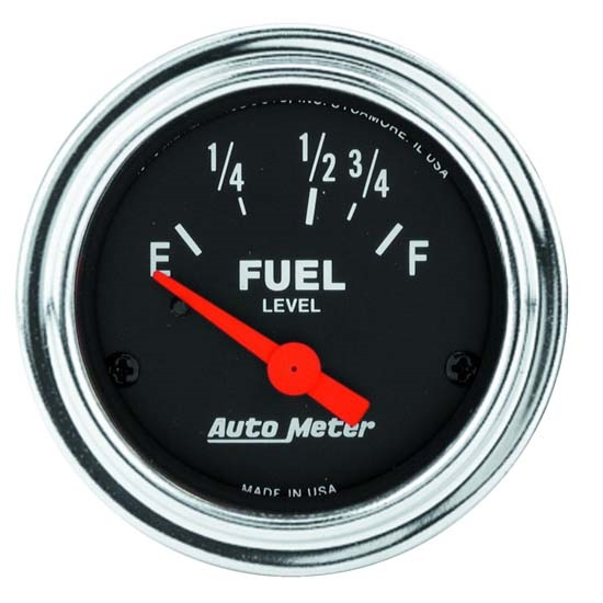 Auto Meter 2518 Traditional Chrome Air-Core Fuel Level Gauge, 2-1/16